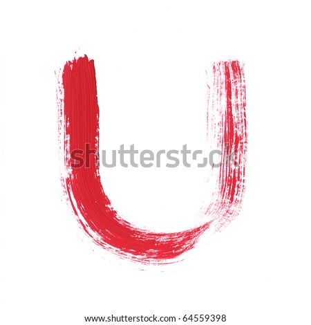 Letter U handwritten paint stroke sketch. Red Isolated on white background. One from collection set.