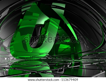 letter u in abstract futuristic space - 3d illustration