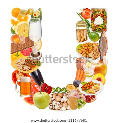 Letter U made of food isolated on white background - stock photo