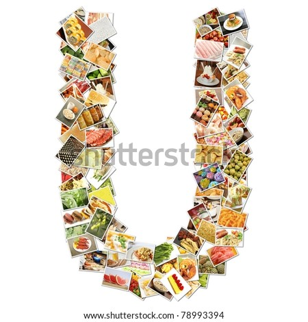 Letter U with Food Collage Concept Art - stock photo