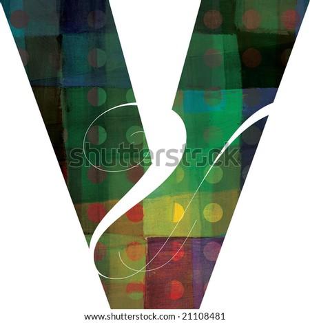 Letter V alphabet symbol art - stock photo