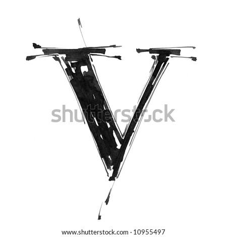 letter V. Alphabet symbol - grunge hand draw paint - stock photo