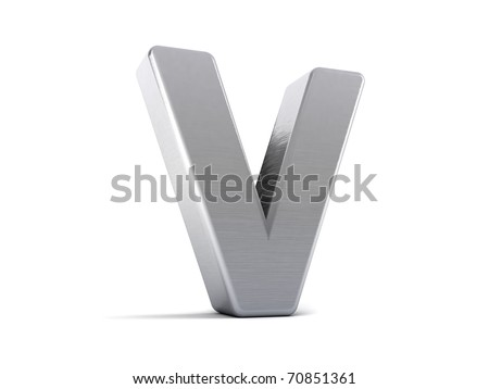 Letter V as a brushed metal 3D object