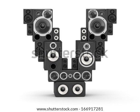 Letter V from black hi-fi speakers sound systems - stock photo