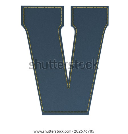 letter v from denim - jeans, on a white background, high specification of fabric, it is stitched by the yellow high-detailed threads - stock photo