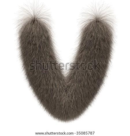 Letter V from fur alphabet - stock photo