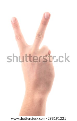 Letter 'V' in sign language, hand on a white background