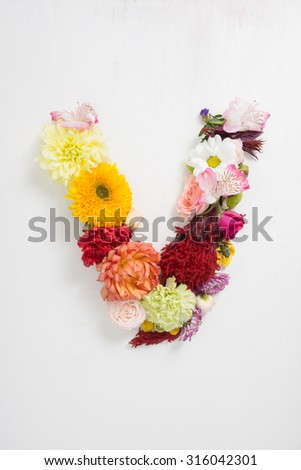 Letter v made flowers stock photo 316042301 shutterstock letter v is made up of flowers altavistaventures Images