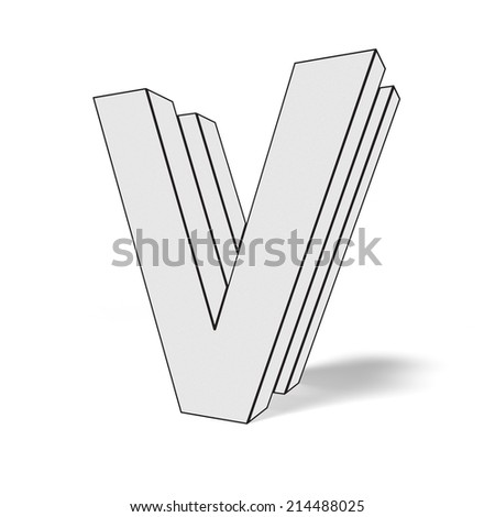 letter v isolated on white background