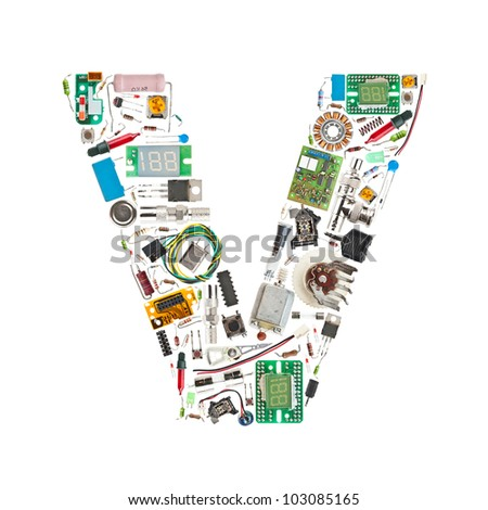Letter 'V' made of electronic components isolated in white background - stock photo