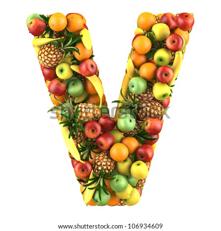 Letter - V made of fruits. Isolated on a white. - stock photo