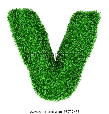 Letter V, made of grass isolated on white background. - stock photo