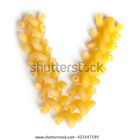 Letter V made of macaroni under a daylight isolated on white background