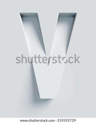 Letter V slanted 3d font engraved and extruded from the surface - stock photo