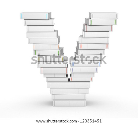 Letter V, stacked from many blank title books in column - stock photo