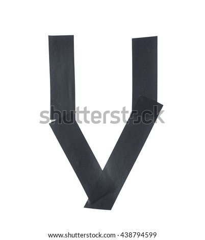 Letter V symbol made of insulating tape pieces, isolated over the white background - stock photo