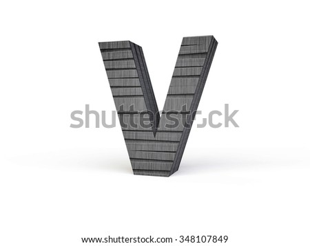 Letter V with Wood Grain Texture in Grey and Black