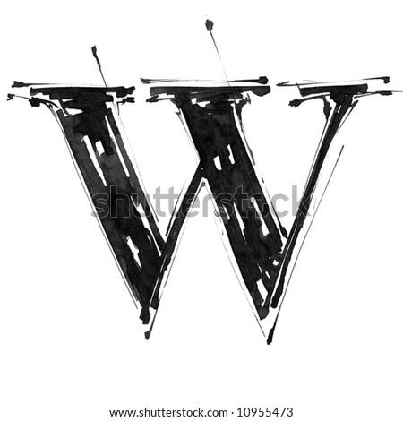 letter W. Alphabet symbol - grunge hand draw paint - stock photo