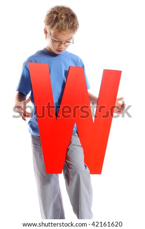 """Letter """"W"""" boy - See all letters in my Portfolio - stock photo"""