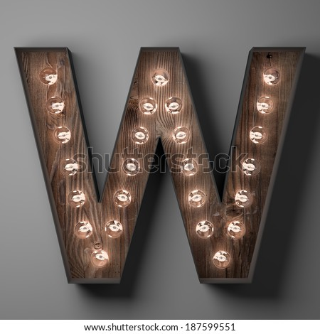 Letter W for sign with light bulbs - stock photo