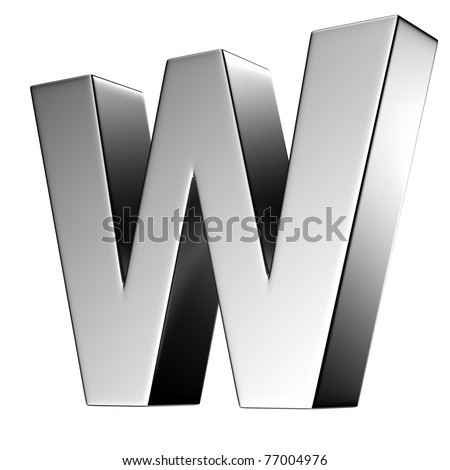 W Alphabet Letter letter w from chrome solid...