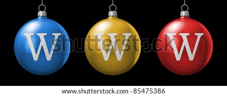 Letter W from cristmas ball alphabet. There is a clipping path - stock photo