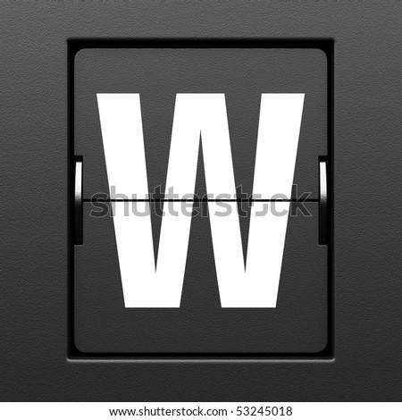 Letter W from mechanical scoreboard alphabet - stock photo