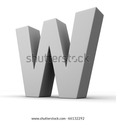 Letter W from solid alphabet. There is a clipping path - stock photo