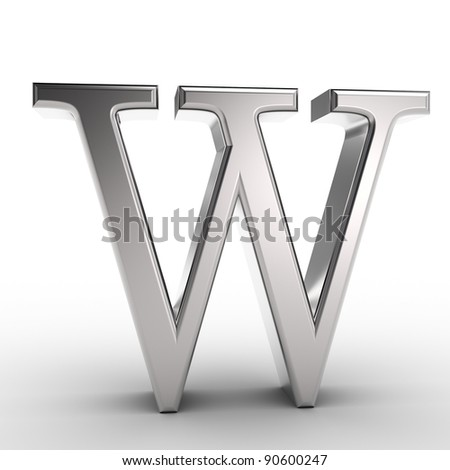 Letter W, isolated on white background. - stock photo