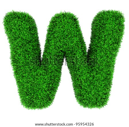 Letter W, made of grass isolated on white background. - stock photo