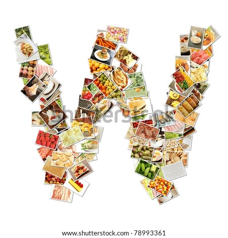 Letter W with Food Collage Concept Art - stock photo
