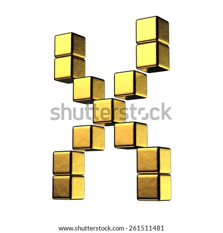Letter X from big cube gold perspective alphabet. There is a clipping path - stock photo