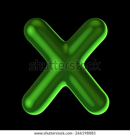 Letter X from round green back light alphabet. There is a clipping path
