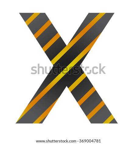 Letter X in industrial style on a white background