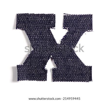 Letter X. Jeans alphabet Isolated on White. Handmade font. - stock photo