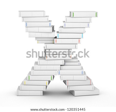 Letter X, stacked from many blank title books in column - stock photo