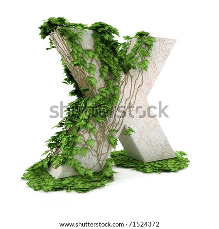 Letter X threads covered with ivy isolated on white background. - stock photo