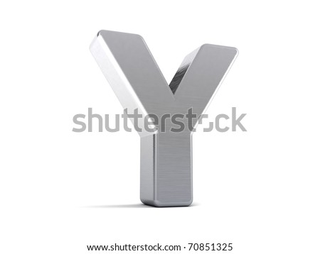 Letter Y as a brushed metal 3D object - stock photo