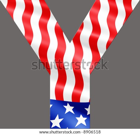 Letter Y cut from rippling American flag