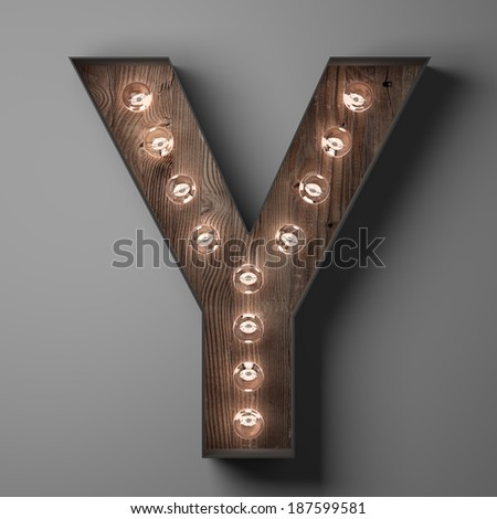 Letter Y for sign with light bulbs - stock photo