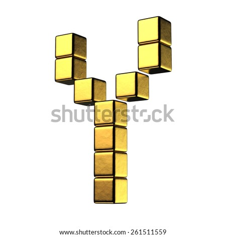 Letter Y from big cube gold perspective alphabet. There is a clipping path - stock photo