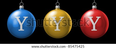 Letter Y from cristmas ball alphabet. There is a clipping path - stock photo
