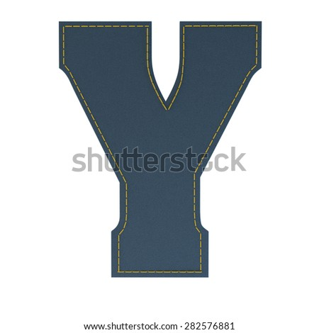 letter y from denim - jeans, on a white background, high specification of fabric, it is stitched by the yellow high-detailed threads - stock photo