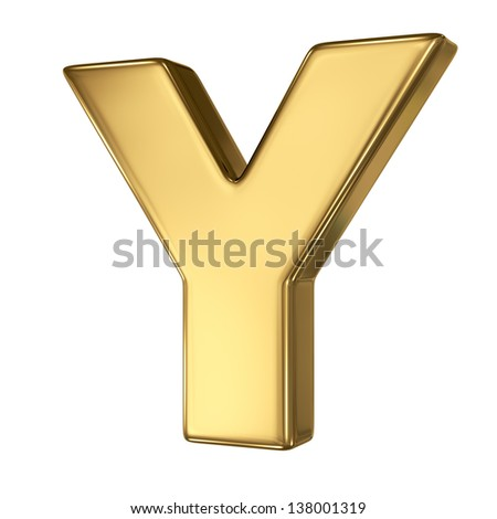 Letter Y from gold solid alphabet
