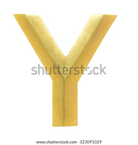 Letter Y from Gold solid alphabet. There is a clipping path