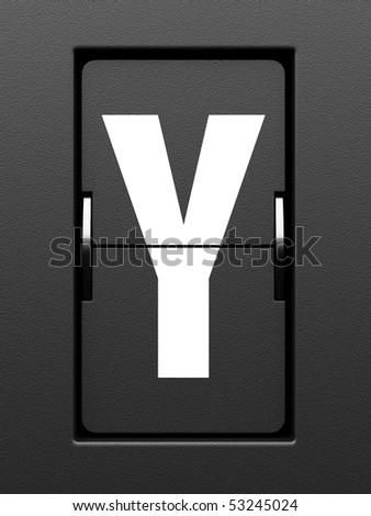 Letter Y from mechanical scoreboard alphabet - stock photo