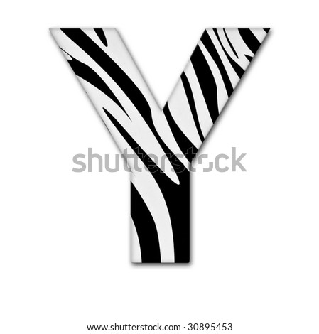 Letter Y from the alphabet. Made of animal print. It has a clipping path. - stock photo