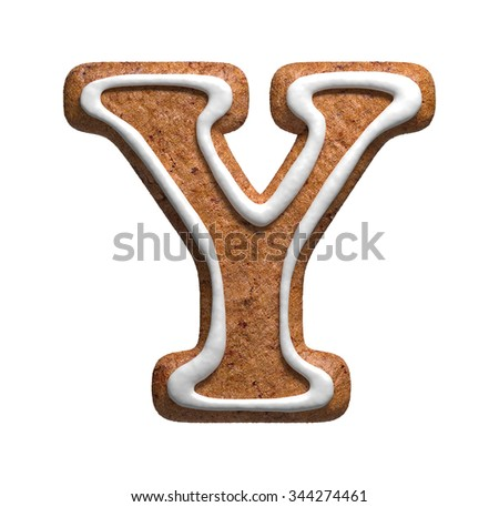 Letter Y. Gingerbread font. Christmas cookies alphabet. - stock photo