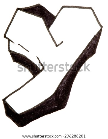 Letter Y, hand drawn alphabet in graffiti style with a black fiber tip pen - stock photo