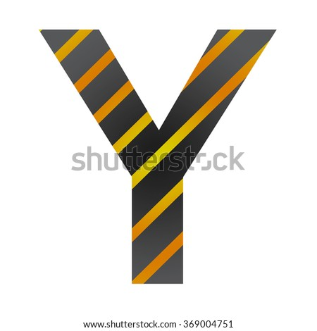 Letter Y in industrial style on a white background